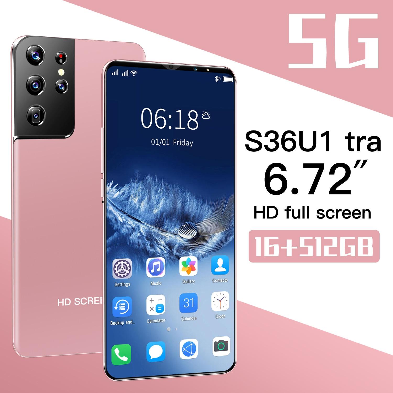 Global Version Smartphone S36ultra 6.72Inch Andriod11 MobilePhone Full Screen 8+256GB 6800mah Battey 32+50MP Camera 5G CellPhone