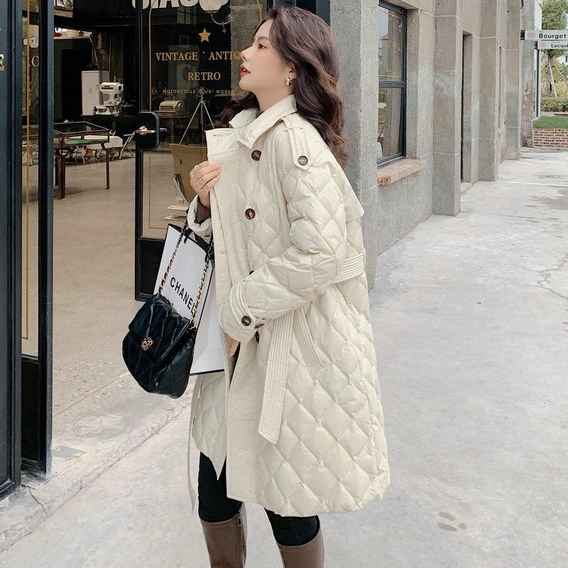 Пуховик женский средней длины, на пуговицах, 2021 утиного пуха