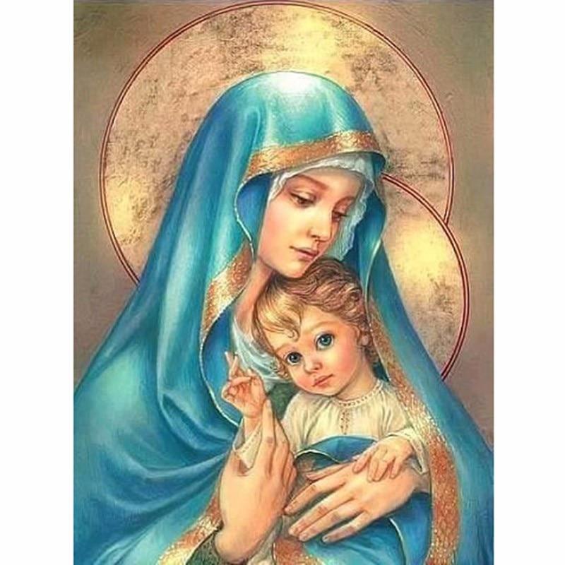 Praça cheia de diamante 5d diy pintura diamante religiosa mãe criança bordado ponto cruz strass pintura mosaico decoração