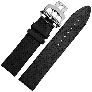 23mm black brown rubber watchband for men's Waterproof sports watch strap with stainless steel deployment buckle clasp Bracelet
