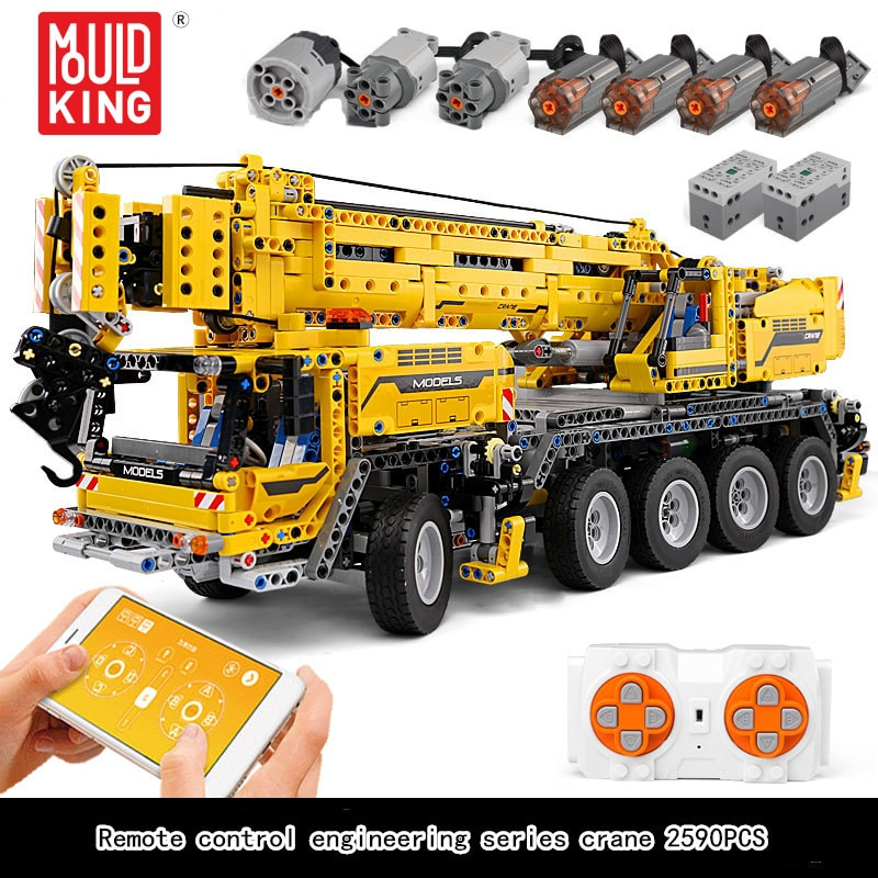 MOULD KING 13107 2590pcs High-Tech Remote Control Crane Truck RC Car Engineering Models Building Blo