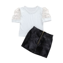 Fashion Kids Girls Clothes Set Puff Sleeve White T Shirts Tops+PU Leather Zipper Mini Skirt Children Clothing Set