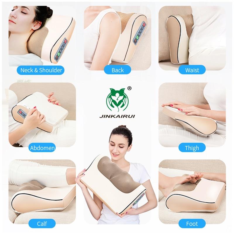 Jinkairui Infrared Heating Neck Shoulder Back Body Electric Massage Pillow Shiatsu Device Cervical Health Massageador Relaxation enlarge