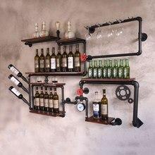 Kahve dükkanı bar şarap dolabı şarap rafı Loft retro endüstriyel tarzı raf raf duvar demir katı ahşap boru duvar asılı