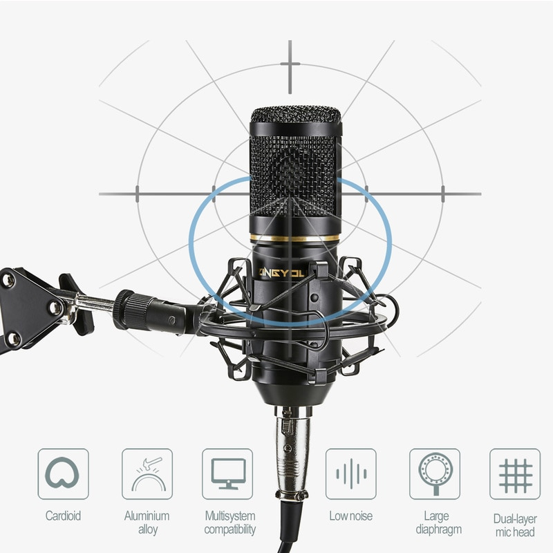 ZINGYOU BM 800 Studio Microphone Multifunctional Wired Cardioid Mic For Sound Recording Professional Condenser bm800 Microphone enlarge