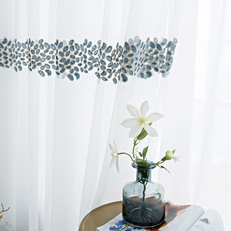 Tul bordado de estilo japonés, cortinas para sala de estar, ventana de encaje transparente para dormitorio, cocina, ventana, tela de malla