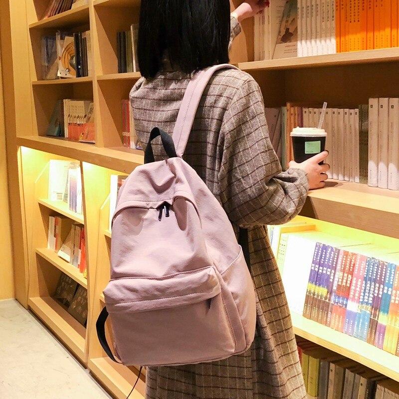 LUUYAH Large Capacity Canvas Backpack Teenagers Women Casual Waterproof  School Bag Simple College W