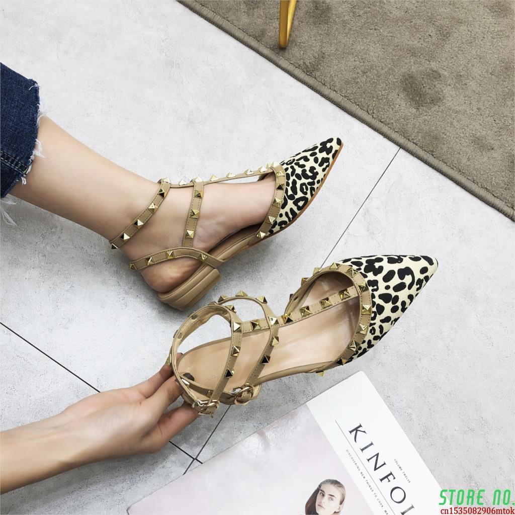 AliExpress - 2021 New Spring Ankle Strap Women Flat Leopard Shoes T-strap Pointed Toe Rivet Flat Sandals Woman Party Dress Shoes