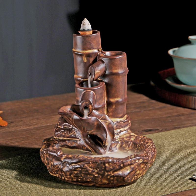 Backflow de bambu incenso queimador fumaça cerâmica cachoeira suporte incenso decoração para casa porcelana roxo areia incenso incenso artesanato