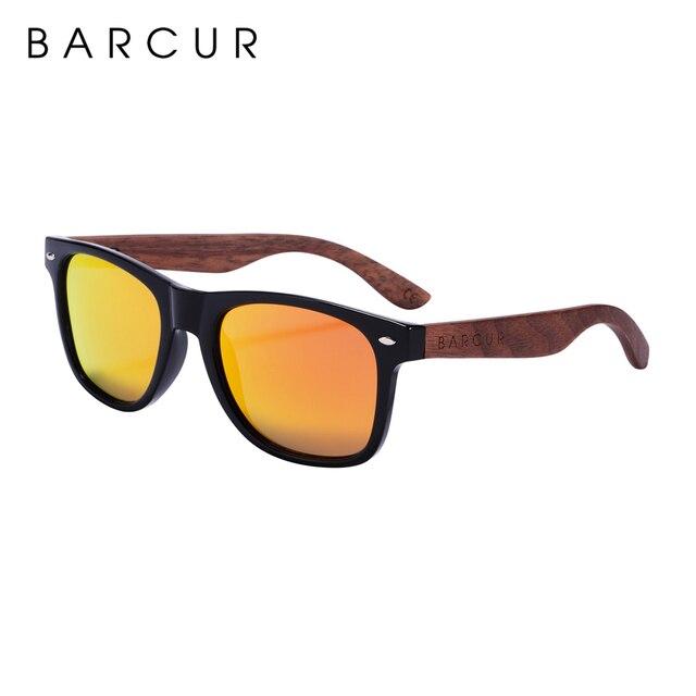 BARCUR High Quality Black Walnut Sunglasses Anti-Reflecti Men Women Mirror Sun Glasses Male UV400 Wooden Sunglass Shades Oculos 6