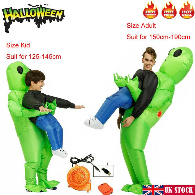 Disfraz de monstruo inflable verde Alien llevar hombre Halloween adultos niños Cosplay accesorios juguetes para niños adultos