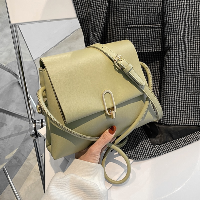 Fashion Turn-Lock Trapeze Small Shoulder Bags For Women Two Compartments Simple Soft PU Leather Girls Crossbody Bags Spring 2021