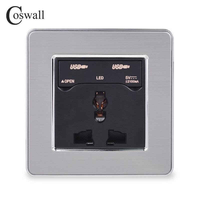 Toma de corriente Universal cosmall 13A con salida de puerto de carga USB Dual 2.1A con indicador LED toma de corriente de pared Salida de Panel de acero inoxidable