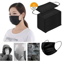 20 Pcs Black Good Quality Disposable 3-ply Breathable Face Ma Sk For Lips Care Ear Loops Disposable