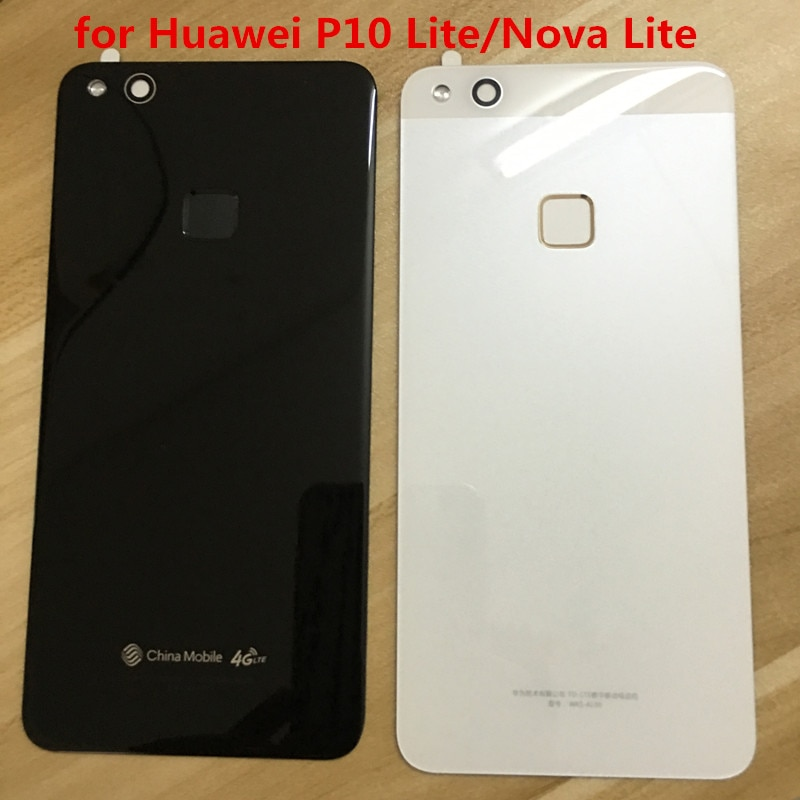 Original para Huawei P10 Lite/Nova Lite funda de batería trasera de cristal carcasa de la puerta trasera + con huella digital para Huawei P10 Lite