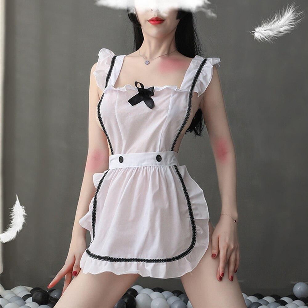 WOAIXDD lencería Sexy Cosplay uniforme de sirvienta erótica conjunto vestido Sexy picardías mujeres minifalda ropa de dormir trajes de doncella francesa