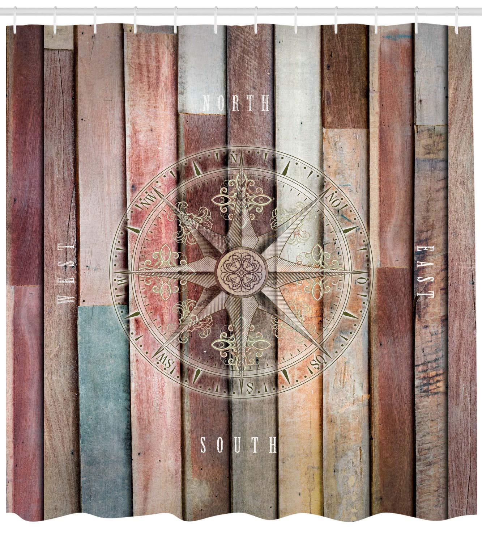 Fondo de madera de colores con tema de la vida marina del mar con timón como la imagen de la brújula decoración del baño