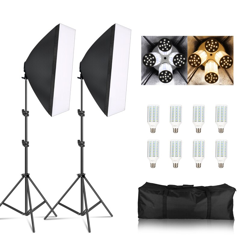 Fotografía Softbox caja de luz Kit 8 Uds E27 LED cámara de estudio fotográfico equipo de iluminación 2 Softbox 2 Soporte de luz con bolsa de transporte
