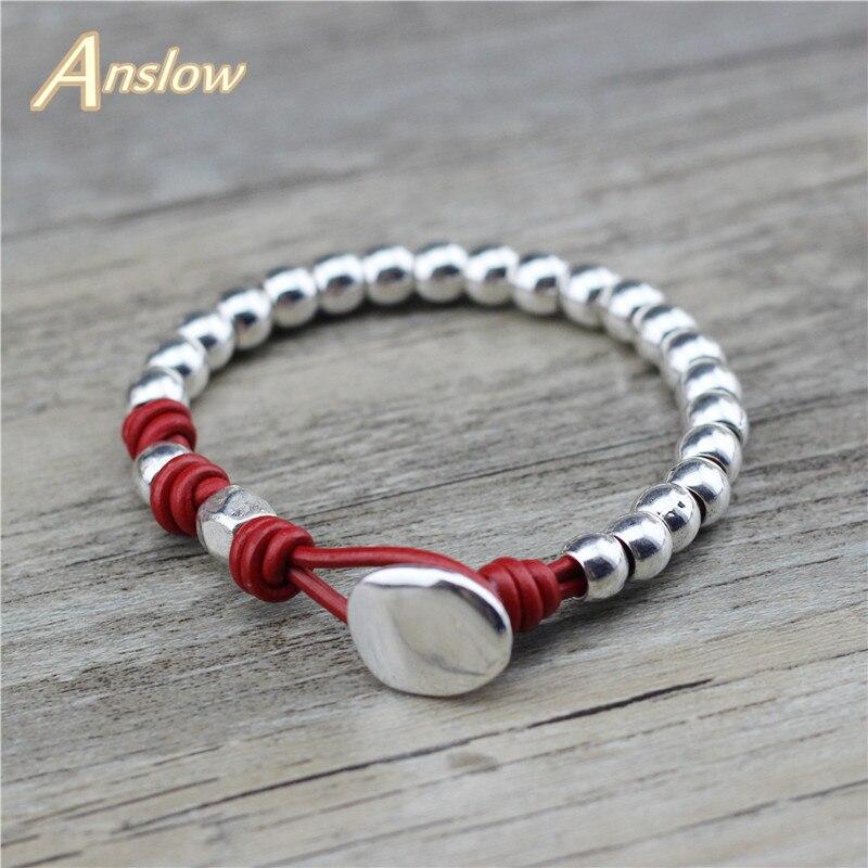 Anslow moda jewewlry na moda artesanal diy contas pulseira de couro para mulher low0810lb