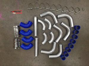 "2"" 51MM All Aluminum Universal Intercooler Turbo Piping + hose + T-Clamp kits 12pcs"