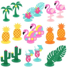 2pcs Tropical Party Flamingo Coconut tree Diy Felt Table Decoration Summer Wedding Hawaiian Birthday Party Supplies Baby Shower