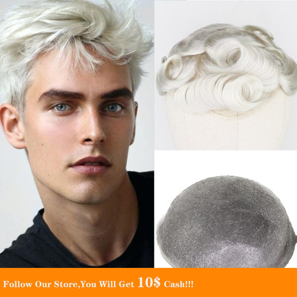 BYMC White Mens Toupee Full PU Toupee Soft Breathable Replacement Systems Handmade Hairpiece Natural Remy European Human Hair