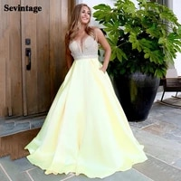 sevintage glitter sequines satin evening dress backless prom gowns 2021 yellow sweep train women party special occasion dresses