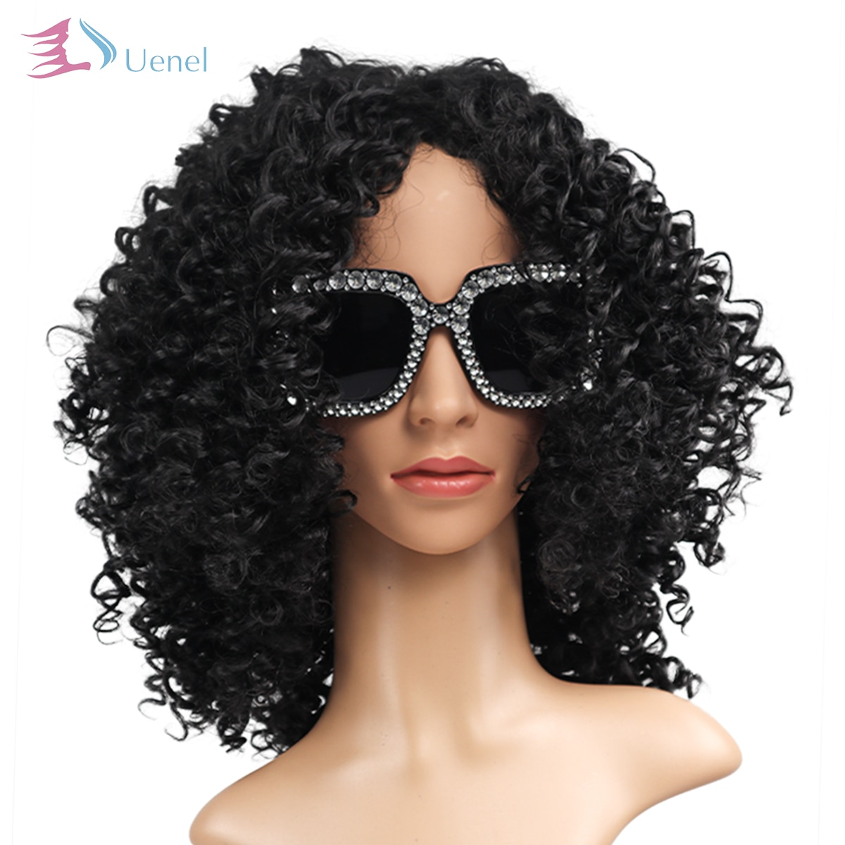 UENELl Good Quality Fashion Medium Black Bouncy Curly Afro Women Synthetic Wigs High Temperature Fiber 18Inch Free Shipping