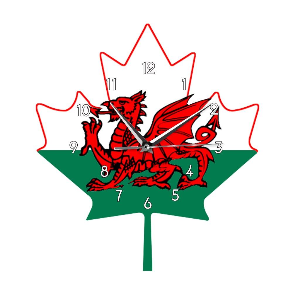 Gran Bretaña dragón rojo en hoja de arce verde blanco Y reloj de pared de impresión de cuarzo silencioso Bandera de gales del Reino Unido Ddraig Goch saat diseño moderno