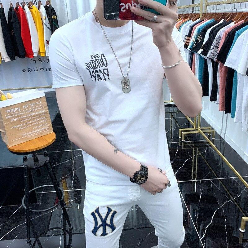 Men's Short Sleeve T-shirt New Spring Summer Korean Style Fashion Brand Trendy T-shirt Net Red Printing Ins Elastic Half Sleeve