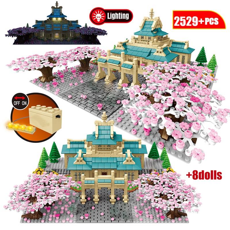 Flor de cerejeira modelo blocos de construção cidade vista árvore casa flor japão tradição arquitetura educação tijolos brinquedos para crianças
