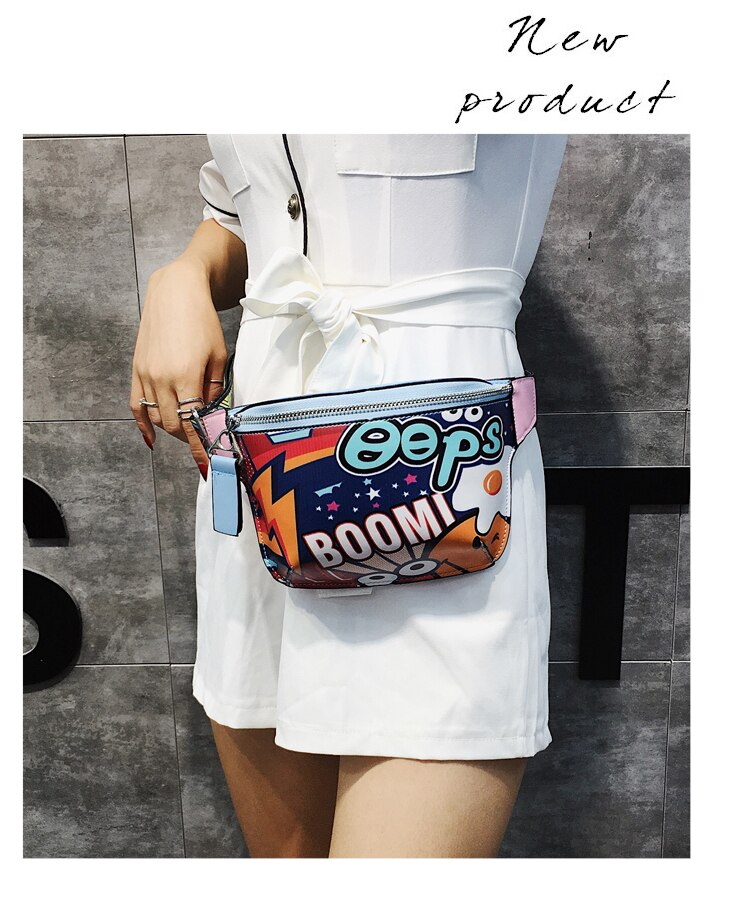 Fashion Large Capacity PU Material Graffiti Letter Style Girl's One Shoulder Tote Bag Waist Bag