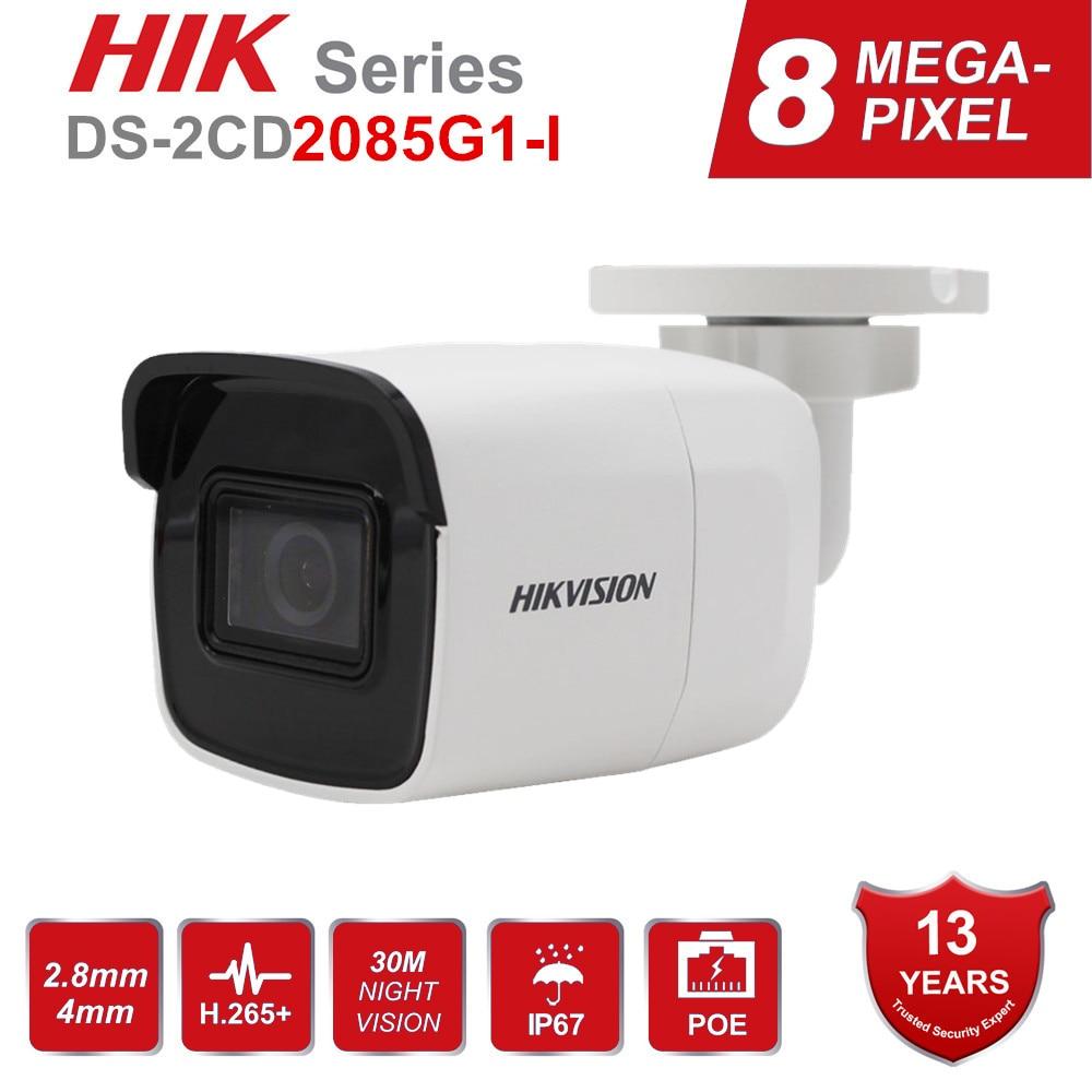 Cámara IP Original de 8MP Hikvision, cámara POE DS-2CD2085G1-I para exteriores, 4K, cámara CCTV tipo bala Darkfighter IR 30M hasta 128 GB IP67