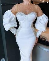vestidos elegant white o neck prom dresses long sleeves pearls beaded arabic formal dresses 2021 dubai evening party gowns
