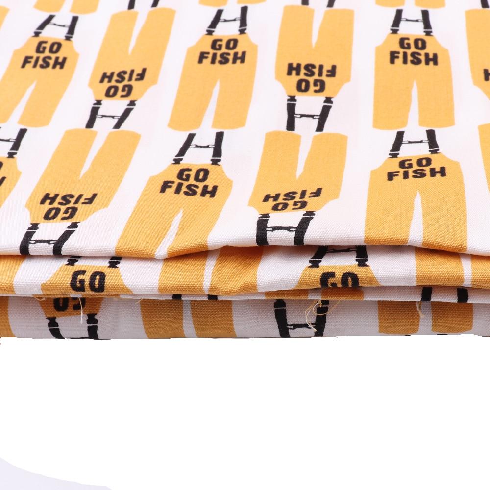150*50CM tela de algodón naranja y pescado blanco bien organizado para cortina de delantal paño de Picnic DIY hojas de coser vestido de textiles para el hogar