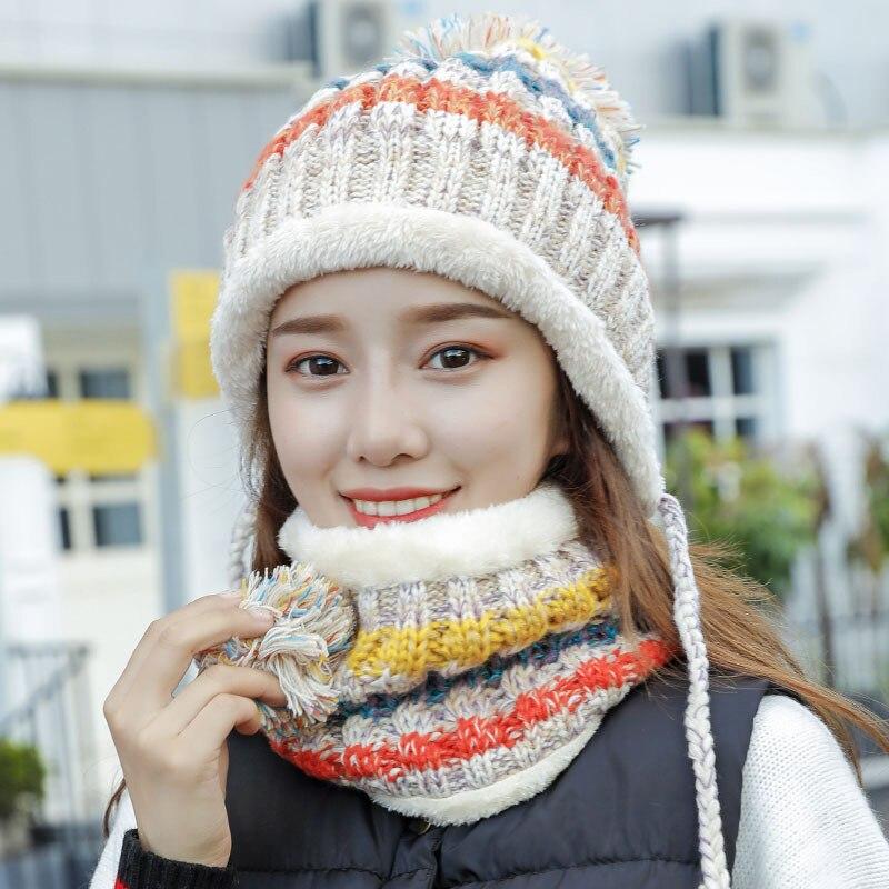 Зимняя женская вязаная шапка зимние шапки шарф женская теплая шапка шарф Набор модная шерстяная утепленная шапка повседневный комплект