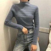 Women Elegant New Style Fashion Design Sweater Jumper Tops Blouse Autumn Half High Neck Long Sleeve Slim Knit Pullover