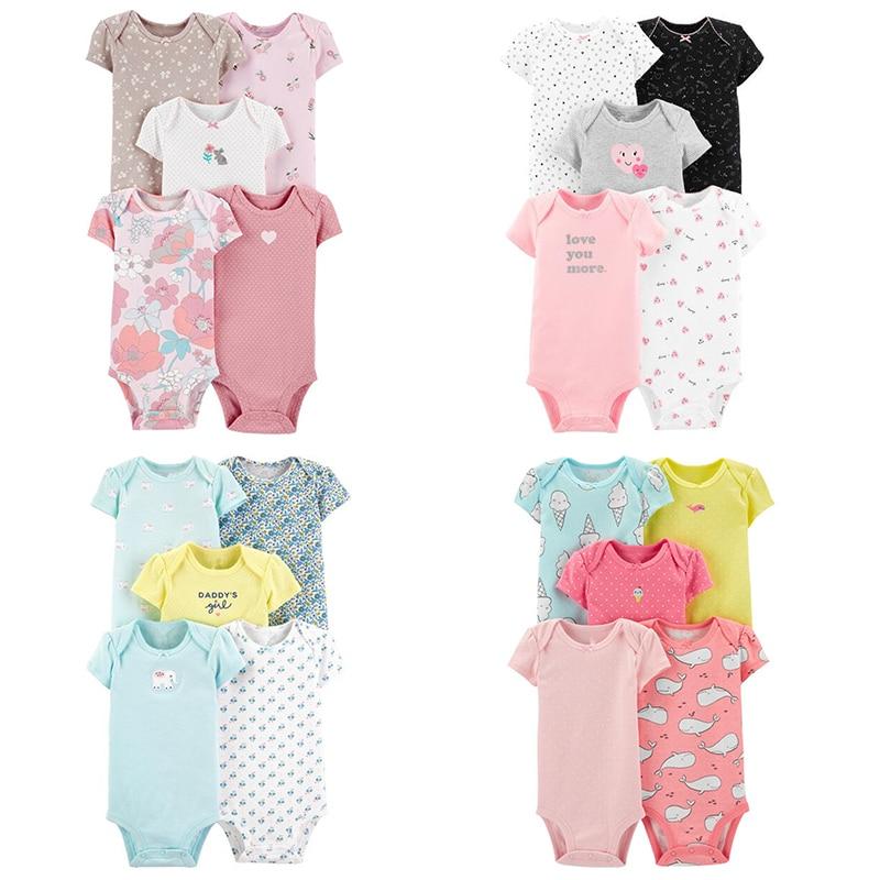 2021 5Pcs/lot Baby Short Sleeved Bodysuit Infant 100% Cotton Clothes Set Newborn Summer Jumpsuit Kids Cartoon One Piece  6-24 m