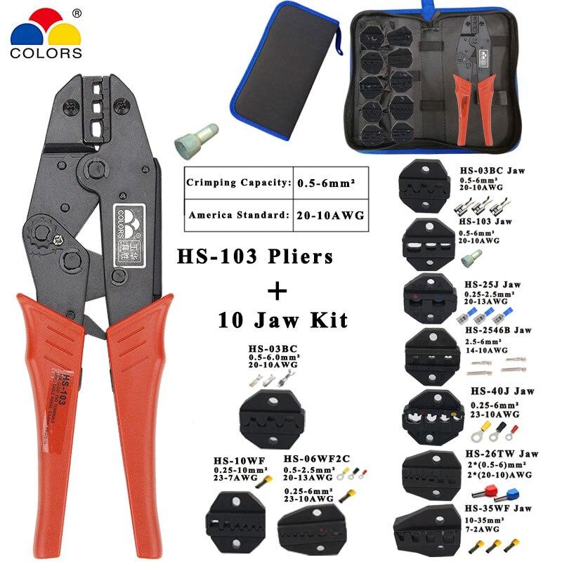 Alicates herramienta HS-103 AWG20-10 longitud 230mm 1 (0,5-1,75) 2(1-3) 5 (2,5-6)mm2 tapa prensadora (con aislamiento cerrado terminales)