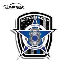 Jump Zeit 13cm x 12,8 cm Blau Leben Angelegenheit Amerikanischen Flagge Polizei Auto Lkw Vinyl Aufkleber Aufkleber Dünne Linie wasserdicht Auto Zubehör