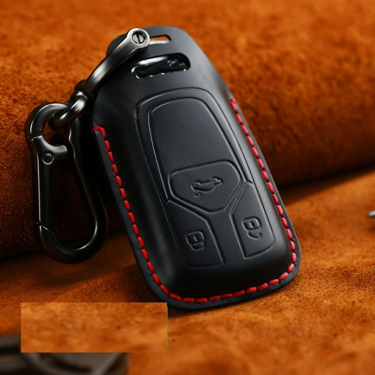 Funda de cuero genuino para llave de coche de caballero británico para AUDI 2017 2018 A4 B9 Q5 Q7 TT S4 S5 SQ5 TTS funda de cobertura de mando a distancia