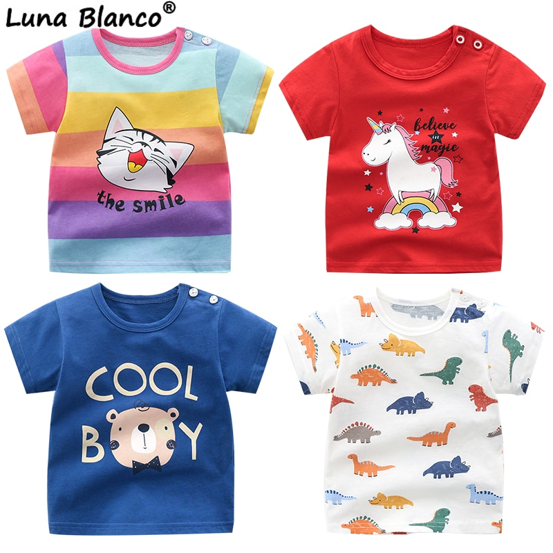 Unisex 6M-5T Autumn Winter Cotton T shirt Cartoon Short Sleeve Baby Boys Girls Tees Kids Children Casual Clothing O-Neck Clothes