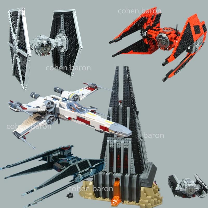 Darth Vader`s X-wing TIE Fighter Castle Star Wars Darth Vader Figures Building Block Brick Toy 75102 Birthday Gift 75242 75251