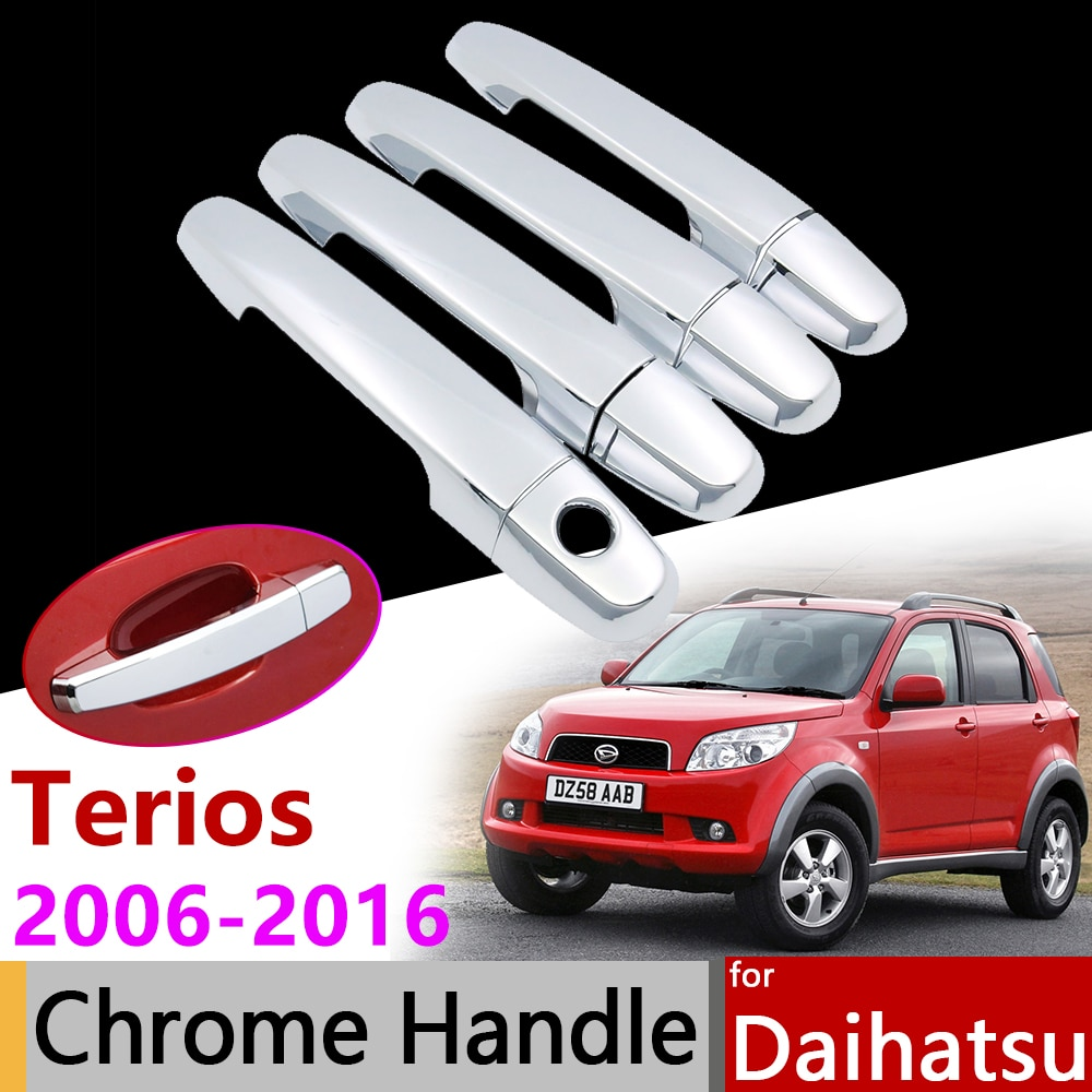 Accesorios de coche cubierta de manija cromada de puerta para Daihatsu Terios Bego 2006 ~ 2016 para Toyota Racing Eco Wild Perodua Nautica J200 F700