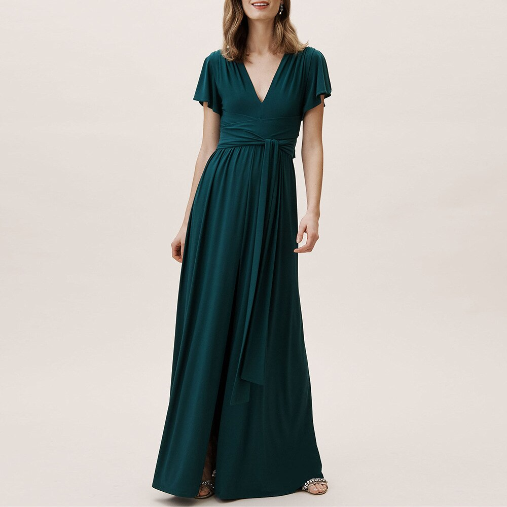 maid of honor dresses for weddings bridesmaid party dresses for women long prom dress graduation dresses back of bandage a line Kayars A Line Black Sashes Bridesmaid Dress Long Spandex Sexy V Neck Floor To Length Burgundy Maid of Honor Dresses for Weddings