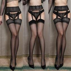 Сексуальные кружевные прозрачные обтягивающие нейлоновые колготки с цветочным узором, женские прозрачные ажурные черные чулки