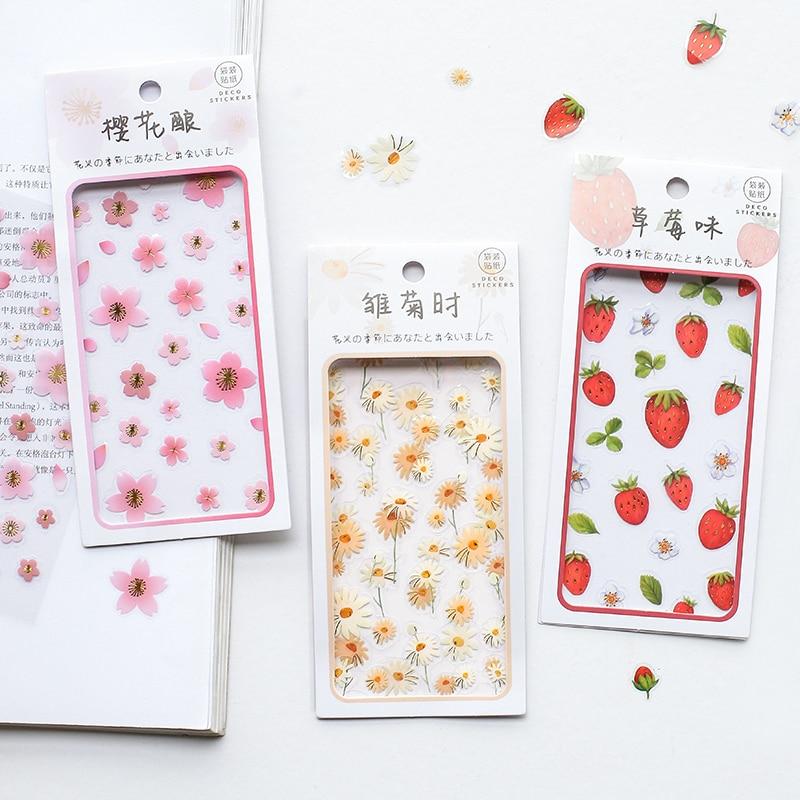 Projetos 4 2 pçs/lote Flor Temporada Sakura Japonês Kawaii Adesivos Scrapbooking Bala Revista Popular Deco Folha Simples Adesivos