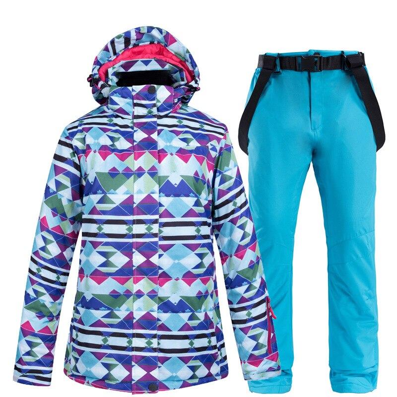Traje de esquí para mujer, ropa de camuflaje para la nieve, impermeable, transpirable, chaqueta cálida, traje de esquí de chapa Doble