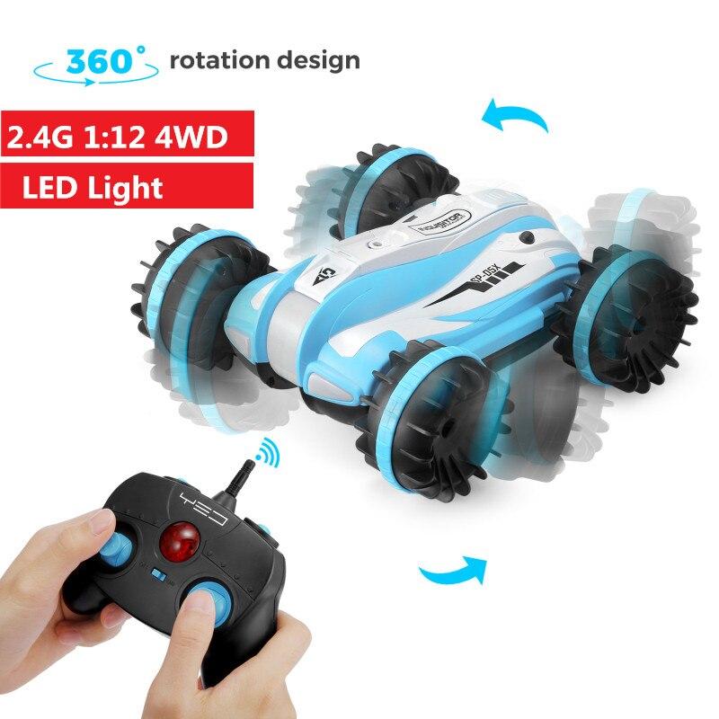 2.4GHz 4WD Land Water 2 in 1 Amphibious Stunt Drift Truck 360 Degrees Rotation LED Night Light RC Robot Climb Car child kids toy