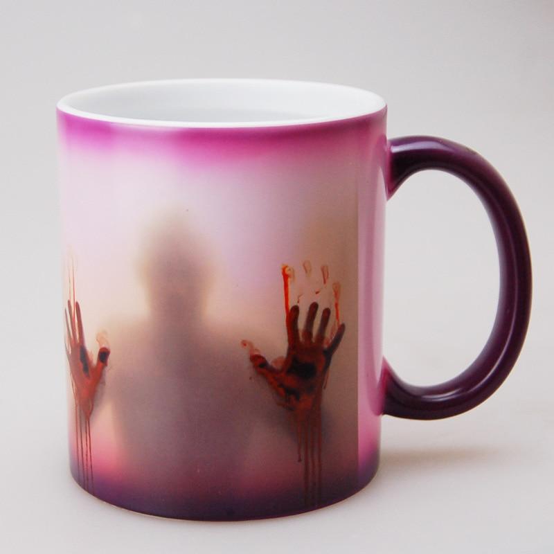 Taza de cerámica de Horror en la taza de café de cerámica sensible al calor de Walking Dead taza de té mágica de Halloween taza de regalo de Navidad sorpresa